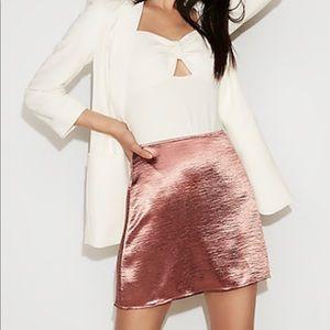 NWT Express A line high waisted satin mini skirt